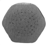 Przykład końcówka zaciśniętej za pomocą matrycy sześciokątnej na kablu z żyłą typu RM