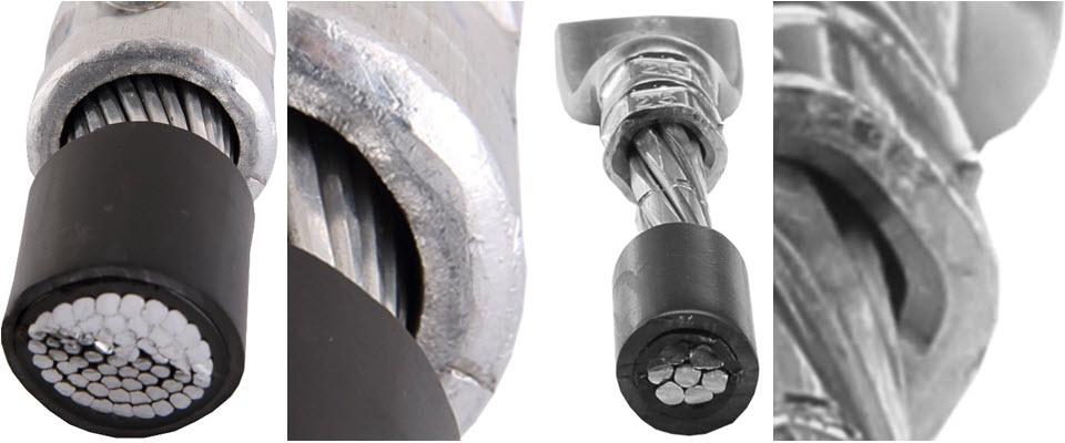 Końcówka aluminiowa zaprojektowana do kabli typu RM zaprasowana na kablu typu RMC