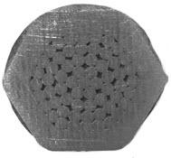 Przykład końcówka zaciśniętej za pomocą matrycy sześciokątnej na kablu z żyłą typu RMC