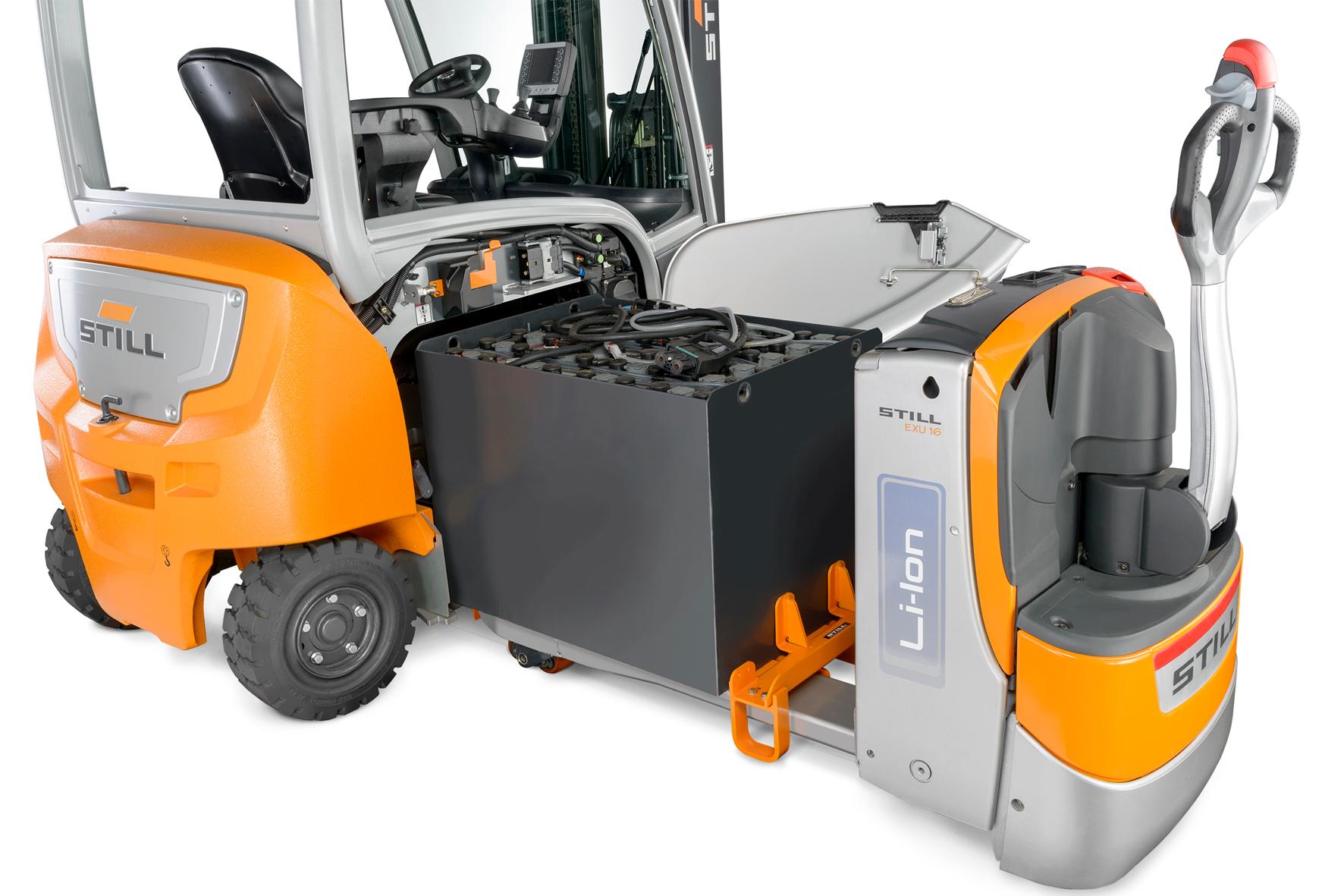 Ogromny Elektryczny wózek widłowy STILL RX 20 z boczną wymianą baterii GJ39