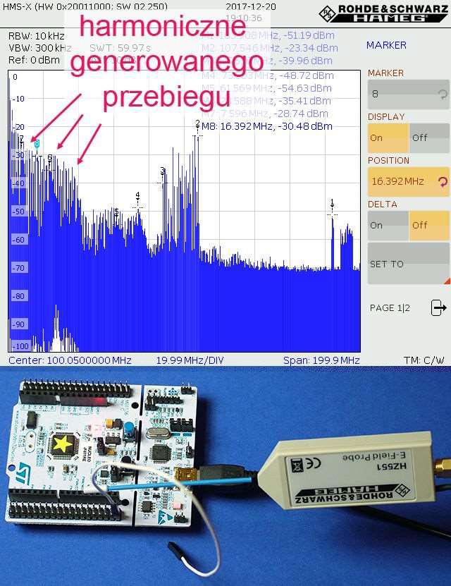 Widmo zaburzeń EMI płytki ewaluacyjnej podczas generowania przebiegu prostokątnego o częstotliwości 591,7 kHz