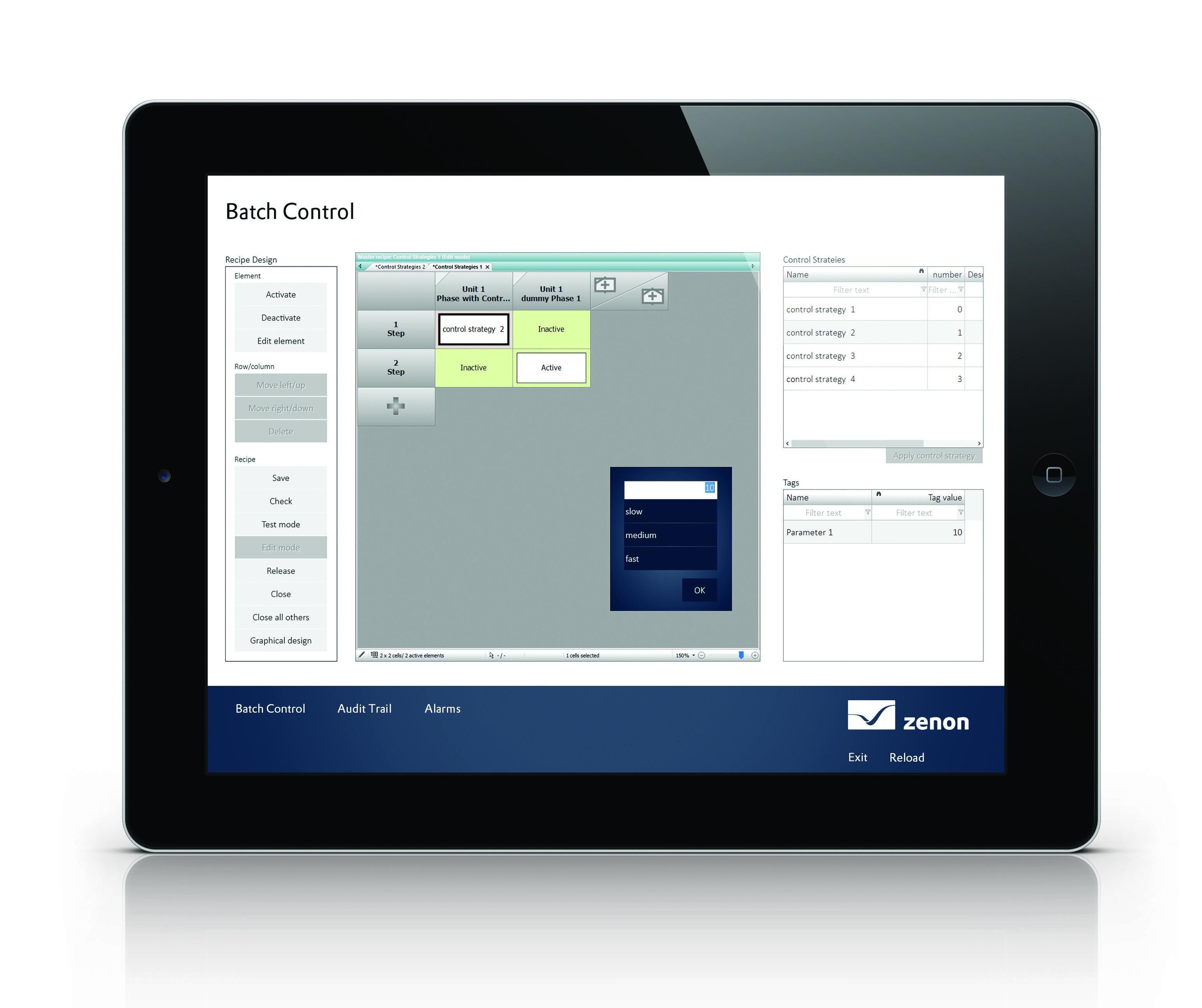 Moduł Batch Control w oprogramowaniu zenon 8.00 pozwala uzyskać stały, zautomatyzowany przepływ pracy w ramach przesyłania podstawowych receptur. Moduł umożliwia import tworzonych zewnętrznie receptur, które można następnie wysyłać bezpośrednio do produkcji.