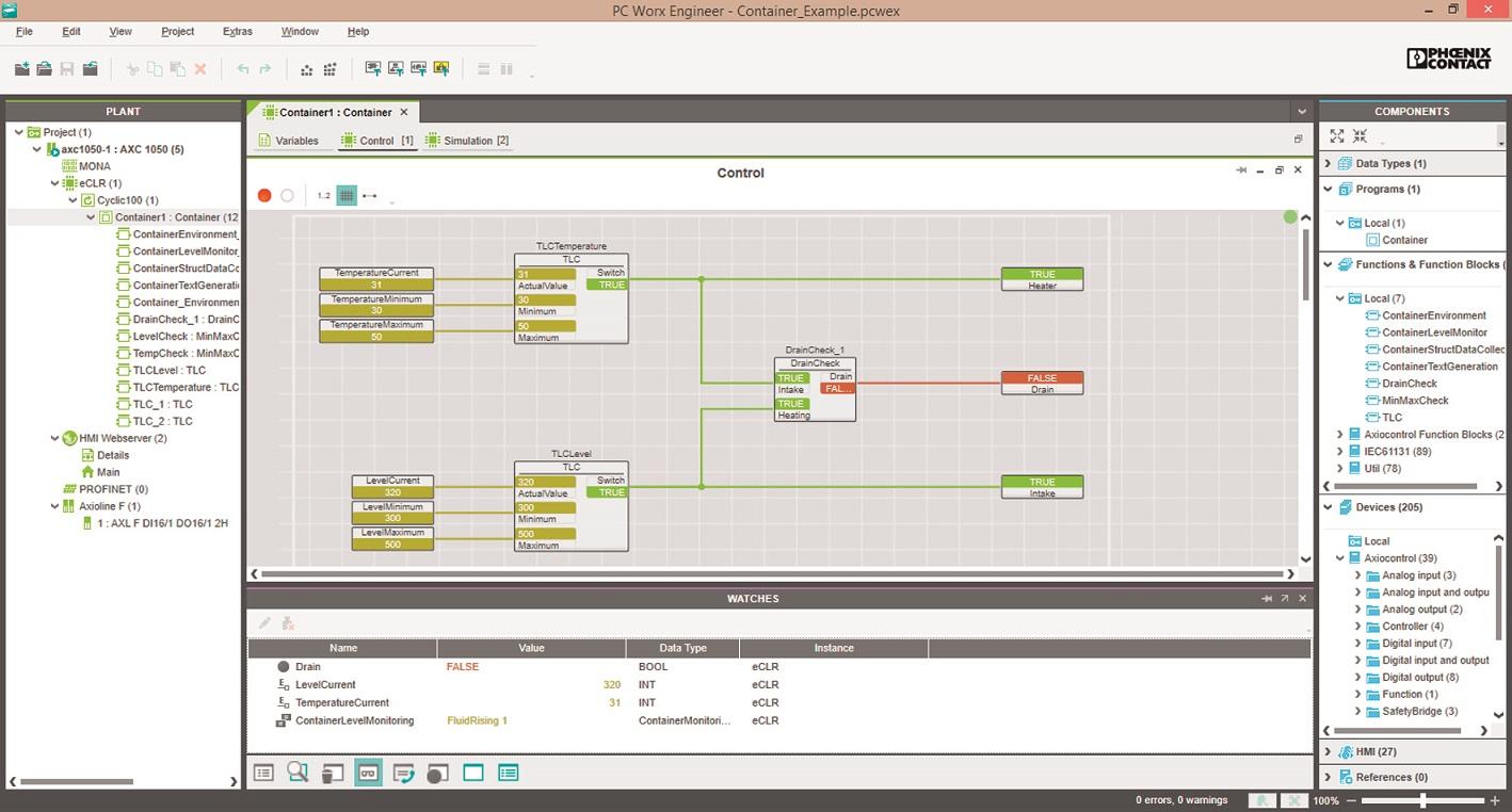 Sterowniki PLCnext są programowane za pomocą narzędzia oprogramowania PC Worx Engineer