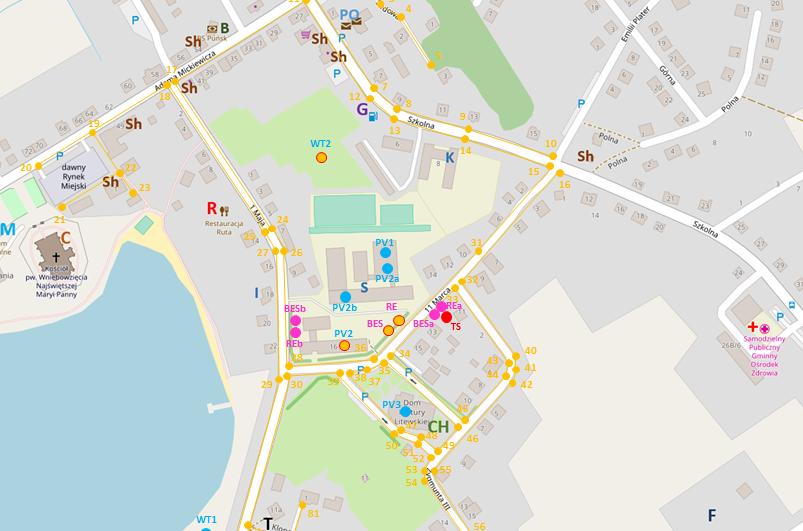 Mapa możliwej lokalizacji obiektów oraz linii elektroenergetycznych w ramach nowo projektowanej struktury mikrosieci w Puńsku - po zweryfikowaniu w programie RIGRID
