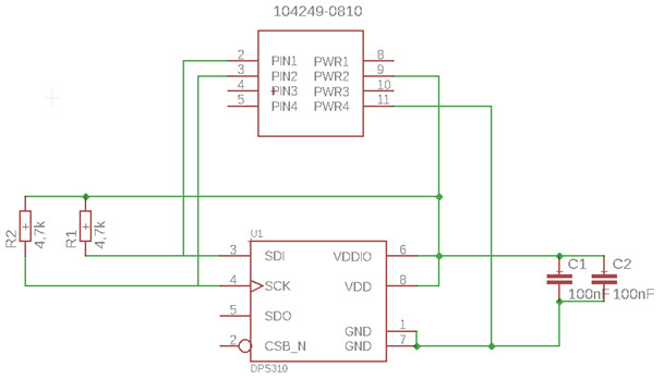 Schemat modułu czujnika ciśnienia DPS310