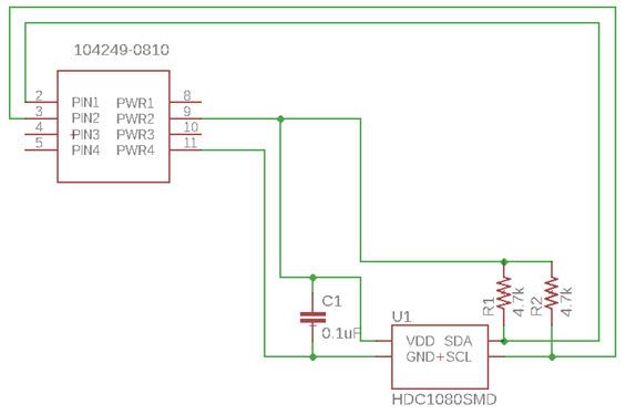 Schemat modułu czujnika wilgotności HDC1080