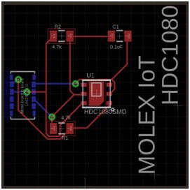 Projekt płytki modułu czujnika wilgotności HDC1080