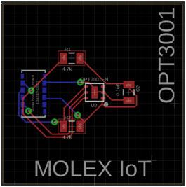 Projekt płytki czujnika natężenia oświetlenia OPT3001
