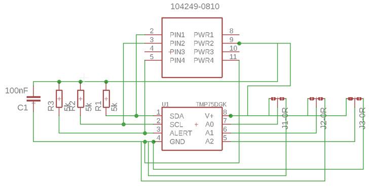 Schemat modułu temperatury TMP75