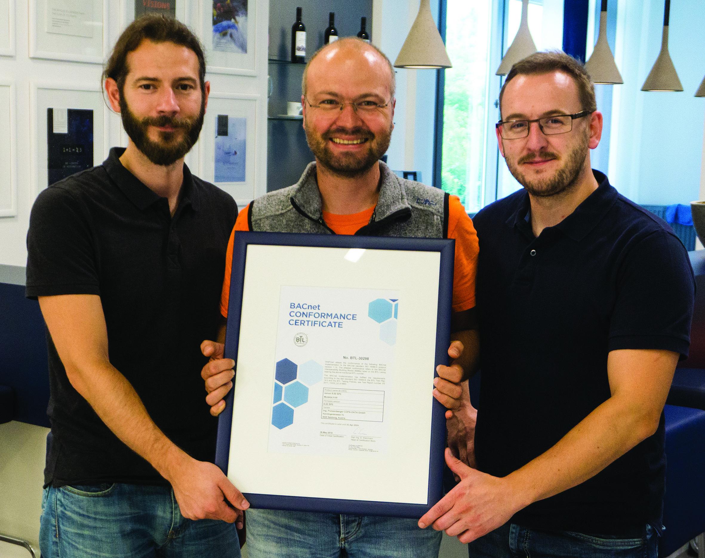 Certyfikat BACnet dla oprogramowania zenon firmy COPA-DATA