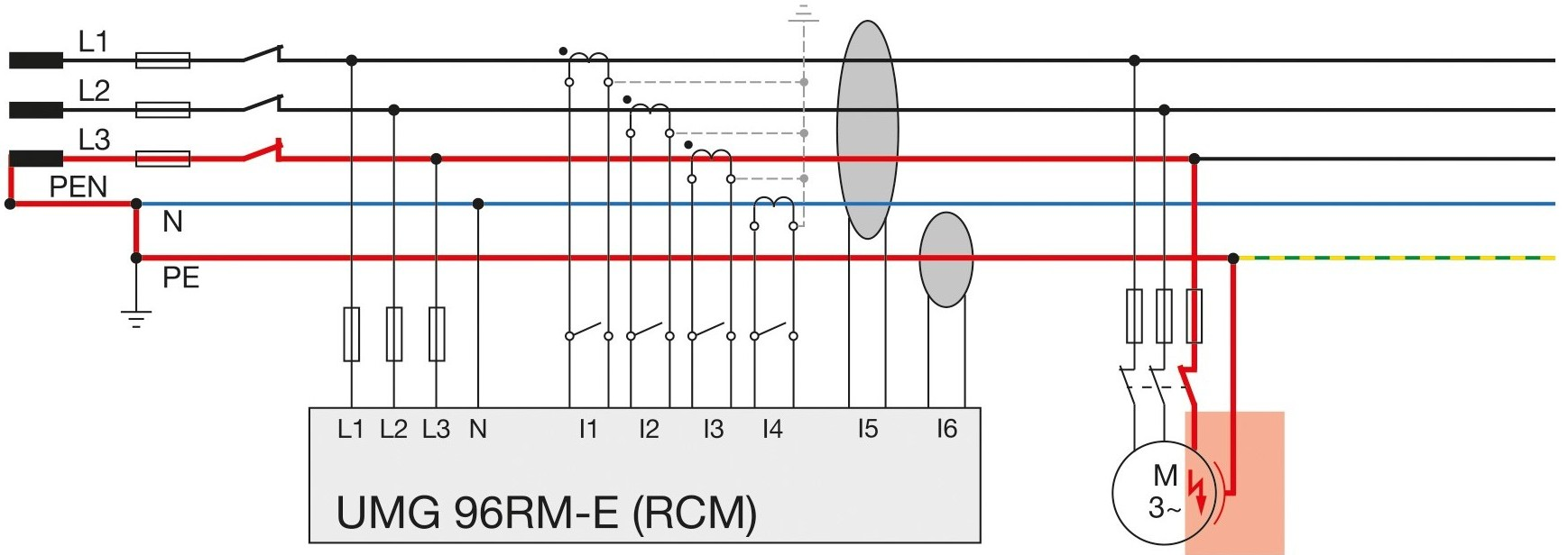 Pomiar prądu upływu silnika trójfazowego