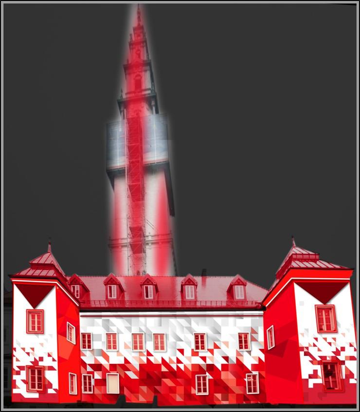 Wieża Jasnej Góry w biało-czerwonych barwach na 100-lecie odzyskania przez Polskę niepodległości