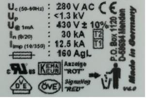 Prawidłowe oznaczenie ograniczników Typu 1 (1+2)