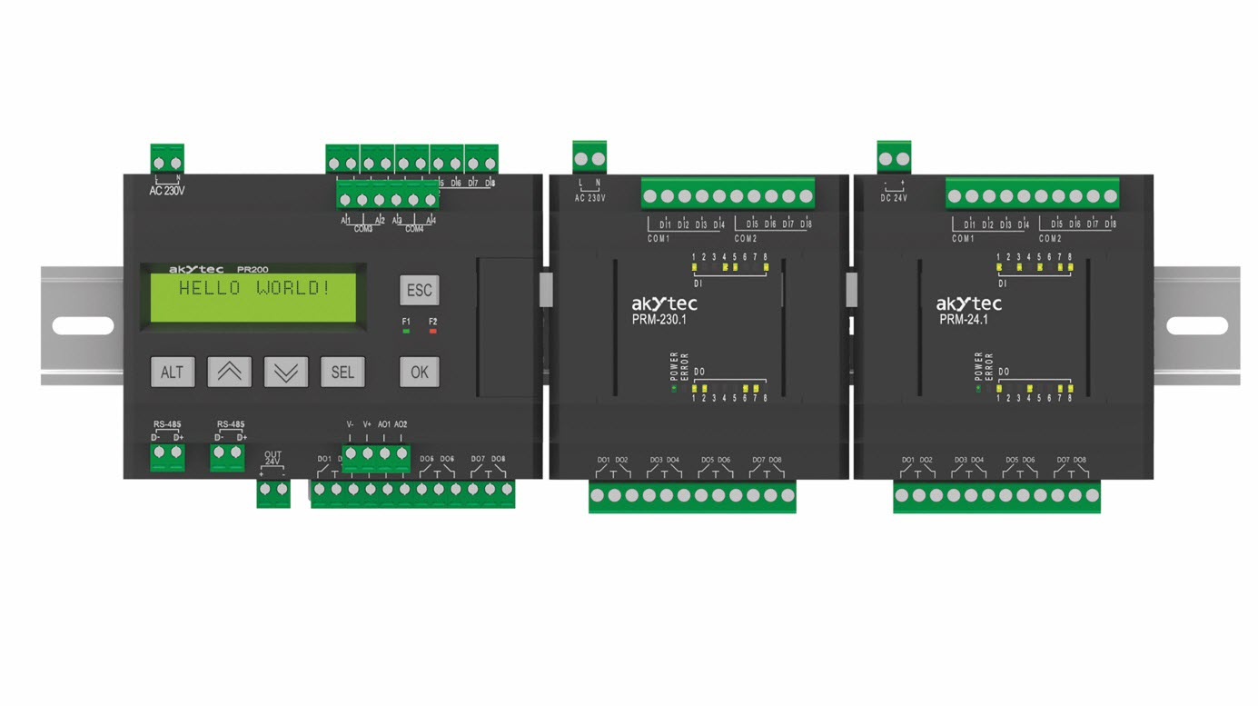 Do przekaźnika programowalnego PR200 można dołączyć do dwóch modułów PRM