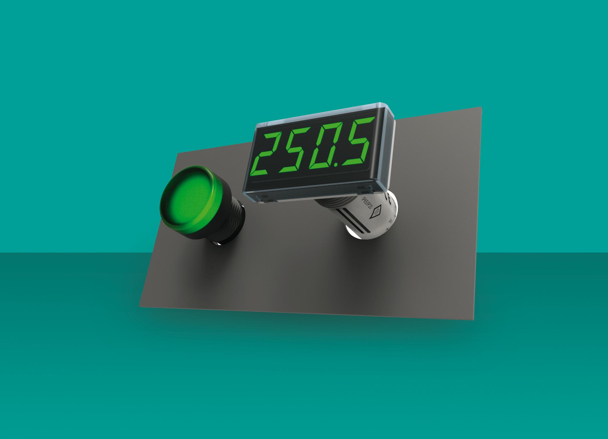 Urządzenie mieści się w standardowym otworze średnicy 22,5mm przeznaczonym na lampki sygnalizacyjne