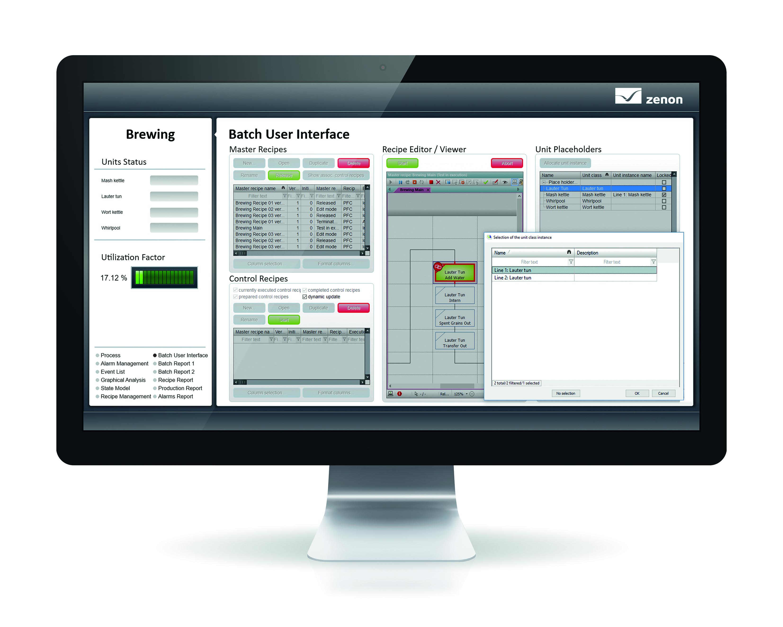 Klasy jednostek w module zenon Batch Control mogą być wykorzystywane do tworzenia ogólnych receptur. Użytkownicy pracują swobodnie podczas tworzenia receptur, a następnie operatorzy decydują, jakie jednostki sprzętowe mają być wykorzystywane w momencie rozpoczęcia produkcji każdej partii.