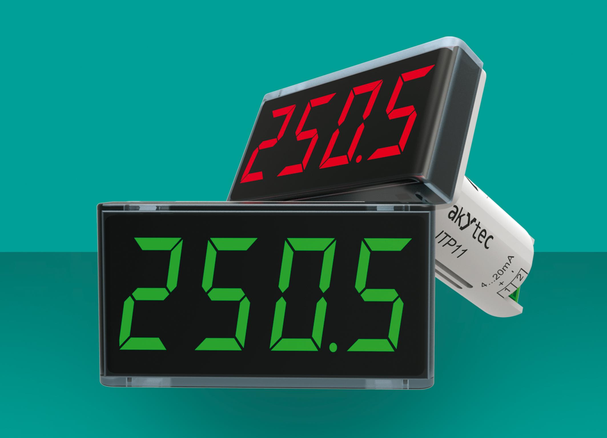 Dostępny w czerwonym i zielonym kolorze diody LED wyświetlacz procesu akYtec może teraz migać, gdy ustawiony limit zostanie przekroczony lub przekroczony