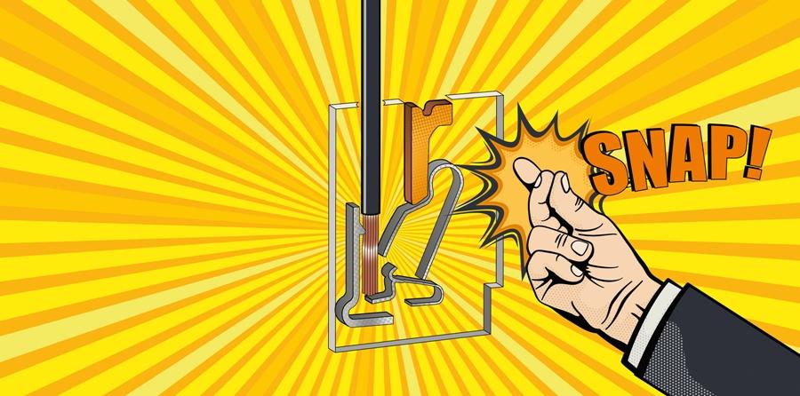 """Nowo skonstruowana sprężynowa zapadka zamyka się z wyraźnym """"kliknięciem"""", gdy tylko przewód znajdzie się we właściwym położeniu, przytrzymując go i tworząc bezpieczne połączenie, odporne na silne wstrząsy i wibracje. Łączenie bez użycia narzędzi! Rozwiązanie oferowane tylko przez Weidmuller."""