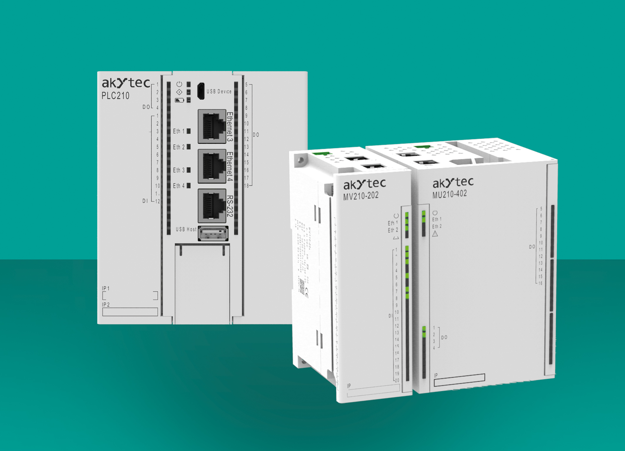 Od utworzenia serwera WWW do połączenia w chmurze: PLC210 (po lewej) obsługuje wiele protokołów i tym samym oferuje wiele możliwości. Ethernetowe moduły I/O serii MX210 oferują złącza wejściowe i o częstotliwości do 100 kHz