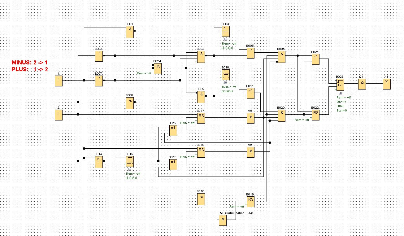 Rys. 2. Przykładowy program napisany w języku FBD dla sterownika LOGO! v8