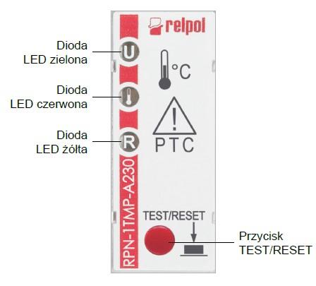 Rys 4. Panel czołowy przekaźnika RPN-1TMP-A230.