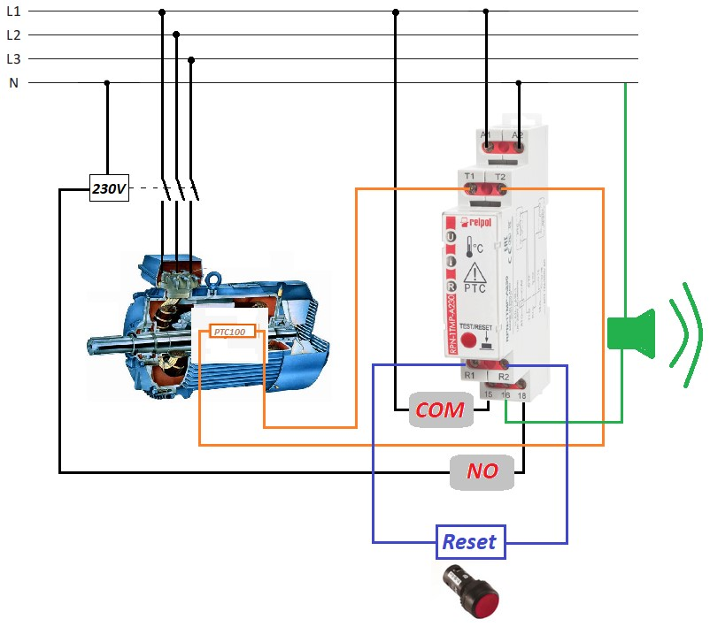 Rys. 4. Przykład zastosowania przekaźnika RPN-1TMP-A230 do kontroli temperatury silnika.