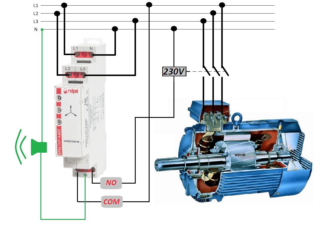 Rysunek 2. Przykład zastosowania przekaźnika RPN-1VF-A400 do kontroli zaniku fazy i asymetrii napięcia.