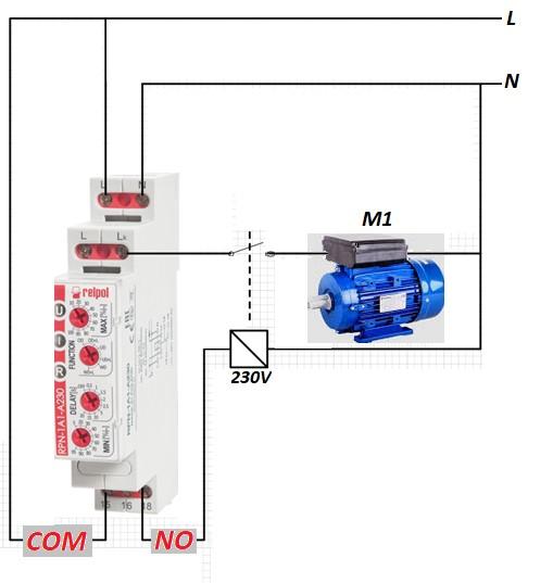 Rys. 1. Przykład zastosowania przekaźnika RPN-1A16-A230 do kontroli prądu silnika.