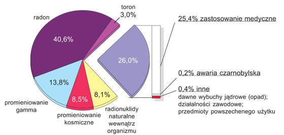 Udział różnych źródeł promieniowania jonizującego w średniej rocznej dawce skutecznej (3,35 mSv) otrzymanej przez statystycznego mieszkańca Polski