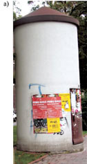 Rys. 7. Przykłady kontenerowych stacji transformatorowych [11],stacja typu słup ogłoszeniowy,