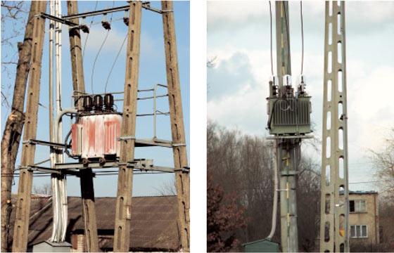 Rys. 6. Przykłady transformatorów słupowych z utrudnionym dostępem i izolacją na przepustach