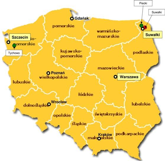 Lokalizacja farm wiatrowych RWE w Polsce