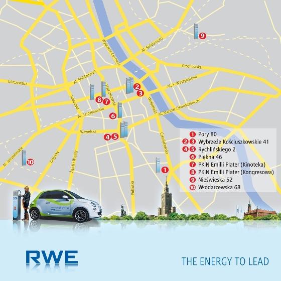 Mapa lokalizacji stacji ladowania RWE w Warszawie