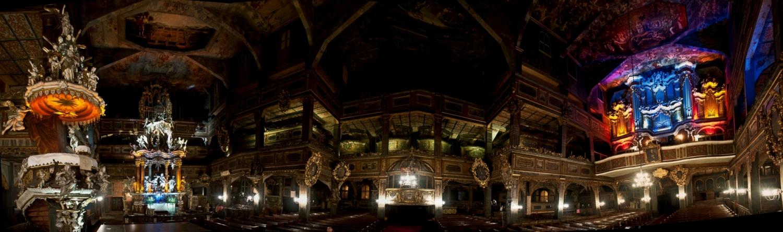 Panorama wnętrza Kościoła Pokoju w Świdnicy