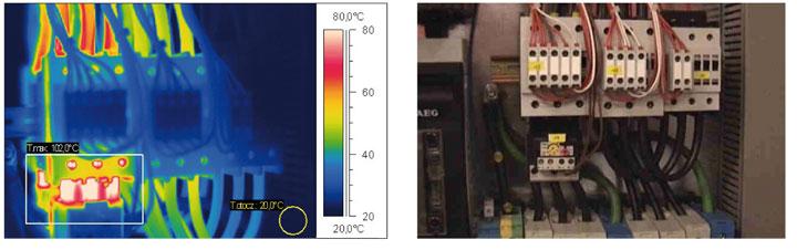 Rozdzielnia nn. Wysoka temperatura przewodów łączących aparaty elektryczne.