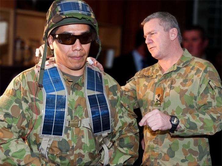 żołnierz zasilany energią słoneczną