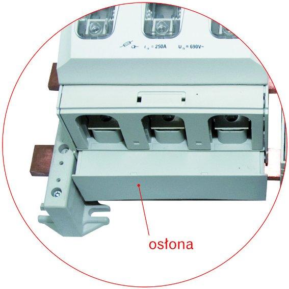 Rozłączniki RBK 1 pro-S wyposażone w innowacyjne osłony maskujące szyny zbiorcze (ochrona przed przypadkowym dotykiem).