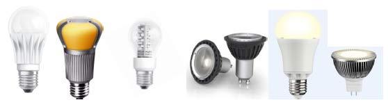 Rys. 4.3. Przykłady lamp LED, zamienników tradycyjnych Ŝarówek i Ŝarówek halogenowych