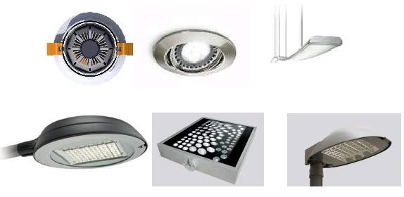 Rys. 4.4. Przykłady opraw LED