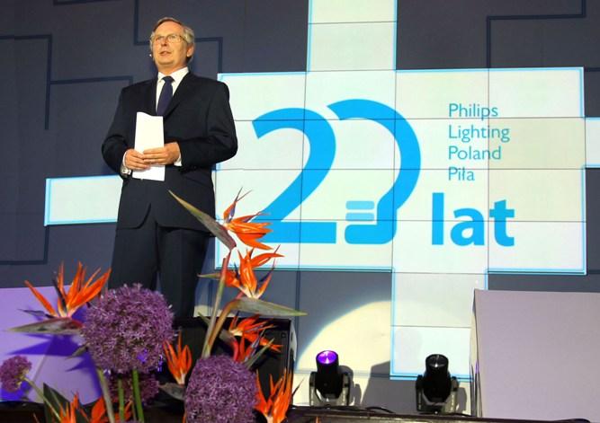 Prezes Edmund Lewiński w czasie 20-lecia Philips Lighting Poland w Pile