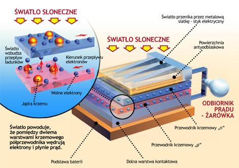 Moduły zbudowane z cienkich krzemowych płytek zmieniają energię słoneczną w elektryczną.