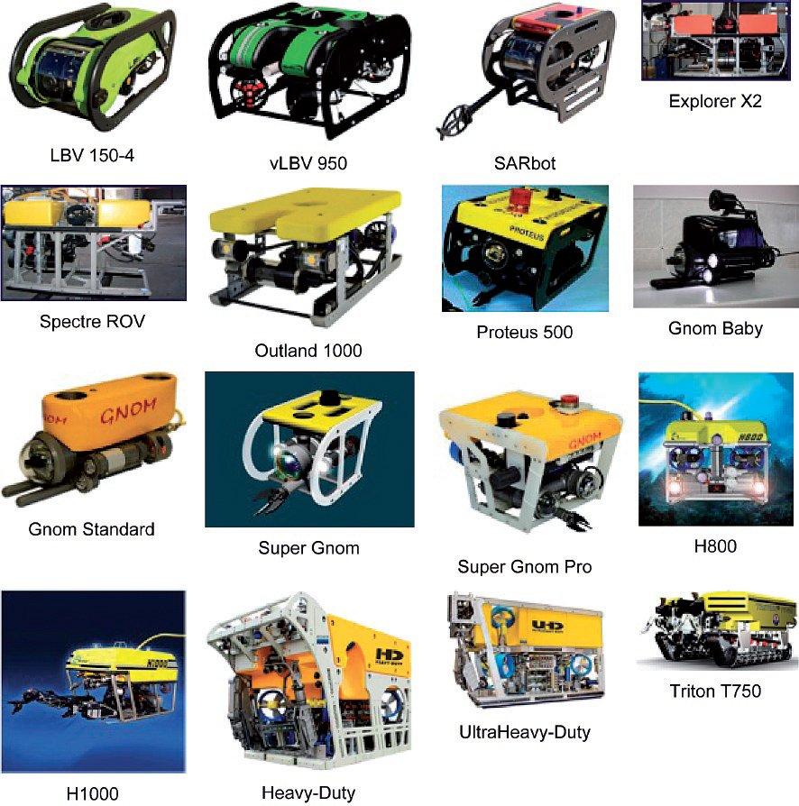 Rys. 2. Przykładowe konstrukcje ROV.