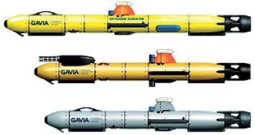 Rys. 3. Poszczególne konfiguracje pojazdu Gavia (od góry Offshore Surveyor, Scientific, Defence)