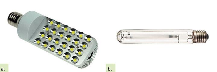 """Fot. 2. Źródło LED (a) """"zamiennik"""" źródła wyładowczego (b)"""