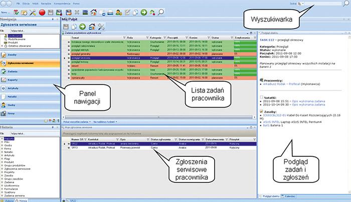 Interfejs aplikacji klienckiej Profesal Maintenance