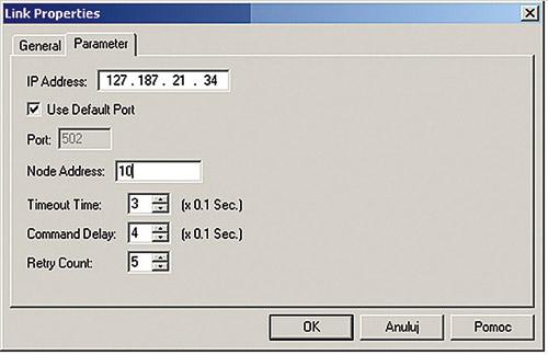 Konfiguracja parametrów łącza