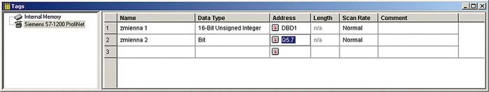 Aby skonfigurować listę zmiennych ręcznie, należy w oknie Menadżera projektu kliknąć dwukrotnie na obiekcie Tags dostępnym w drzewku projektu.