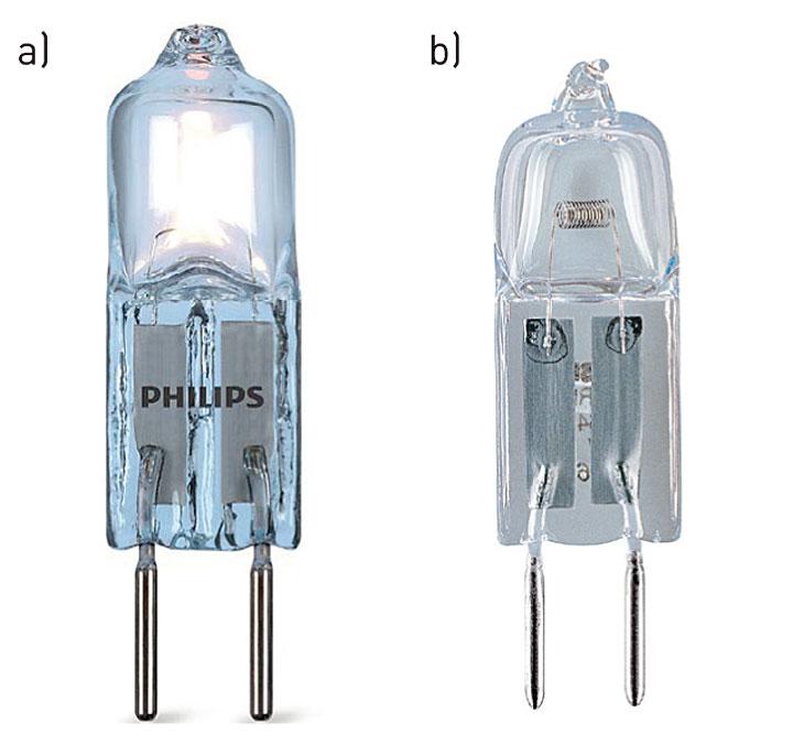 Niskonapięciowe źródła halogenowe bez reflektora: a) Philips Eco- Halo Caps 12 V, b) Halostar