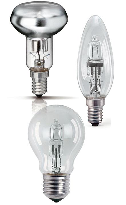 . Lampy halogenowe zasilane napięciem 230 V z tradycyjnymi trzonkami E14 i E27.