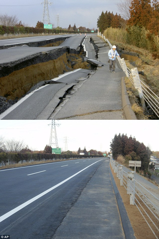 japońska droga odbudowana w 6 dni po trzęsieniu ziemi